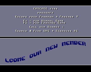 Intro for Escape from Tharkan + Trainer - Cascade - Amiga Intros